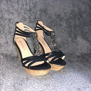 Shoes - Black cork wedges